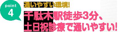 千駄木駅徒歩3分、土日祝診療で通いやすい!